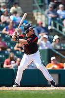 Rochester Red Wings catcher Eric Fryer (22) at bat during a game against the Norfolk Tides on May 3, 2015 at Frontier Field in Rochester, New York.  Rochester defeated Norfolk 7-3.  (Mike Janes/Four Seam Images)