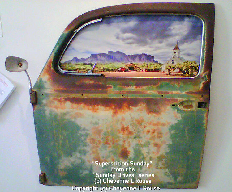 """This piece is AVAILABLE for purchase!<br /> """"Superstition Sunday"""" is part of my """"Sunday Drives"""" series - Where I take the viewer back to a time when Sunday drives were the highlight of the weekend and life was simple. Authentic old car doors are used to showcase a Giclee Fine Art Photograph on Canvas and can easily be hung on the wall with the heavy gauge wire hanger installed on the back. Please contact Cheyenne for pricing and shipping information. Each piece in this limited series is a one of a kind creation!"""