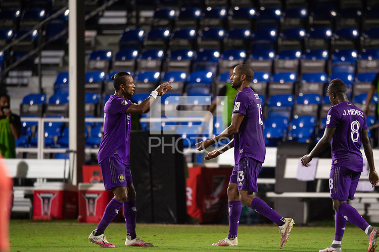 LAKE BUENA VISTA, FL - JULY 25: Nani #17 and Tesho Akindele #13 of Orlando City SC celebrate a goal during a game between Montreal Impact and Orlando City SC at ESPN Wide World of Sports on July 25, 2020 in Lake Buena Vista, Florida.