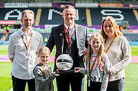 Sunday April 02 2017 <br /> Pictured:   Match Ball sponsors ahead of the game<br /> Re: Premier League match between Swansea City and Middlesbrough at The Liberty Stadium, Swansea, Wales, UK. SUnday 02 April 2017