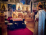 Resurrection Matins, evening before Easter Sunday, the blessing of the baskets, St. Sava Serbian Orthodox Church, midnight in Jackson, Calif.<br /> <br /> candle light
