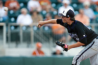 Central Arkansas Bears pitcher Clint Green #12 delivers during the NCAA baseball game against the Texas Longhorns on April 24, 2012 at the UFCU Disch-Falk Field in Austin, Texas. The Longhorns beat the Bears 4-2. (Andrew Woolley / Four Seam Images).