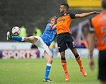 Dundee United v St Johnstone...27.09.14  SPFL<br /> Murray Davidson battles with Mario Bilate<br /> Picture by Graeme Hart.<br /> Copyright Perthshire Picture Agency<br /> Tel: 01738 623350  Mobile: 07990 594431