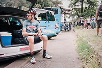 As the teambus didn't make the (very long) transfer to Rome, Sander Armée (BEL/Lotto-Soudal) waits outside for the race to start<br /> <br /> stage 21: Roma - Roma (115km)<br /> 101th Giro d'Italia 2018