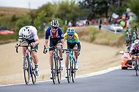 Simon Clarke (AUS/EF), Sepp Kuss (USA/Jumbo-Visma) & Vadim Pronskiy (KAZ/Astana)<br /> <br /> Men's Elite Road Race from Imola to Imola (258km)<br /> <br /> 87th UCI Road World Championships 2020 - ITT (WC)<br /> <br /> ©kramon