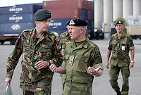 The Commander of the Joint Logistics Support Group (JLSG) during Noble Ledger,Brigadier General Ivo de Jong (Netherlands), photographed with  Norwegian Chief of Defence, Admiral Haakon Bruun-Hanssen (right).  <br /> <br /> Dutch and German military equiment arrives at Brevik harbour in Norway ahead of NATO exercise Noble Ledger. The NATO Response Force (NRF) is a multinational force made up of land, air, maritime and Special Operations Forces components. The exercise will includes around 6500 soldiers from the USA, Germany, Netherlands, Denmark, Belgium and Norway. Photo: Fredrik Naumann/Panos