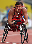 Chantal Petitclerc of Montreal celebrates her victory and new world record in the women's 200 metres, class T54, at the Paralympic Games in Beijing, Sunday, Sept., 14, 2008.    Photo by Mike Ridewood/CPC