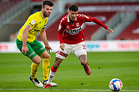 Middlesbrough's Marvin Johnson gets away from Norwich City's Grant Hanley<br /> <br /> Photographer Alex Dodd/CameraSport<br /> <br /> The EFL Sky Bet Championship - Middlesbrough v Norwich City - Saturday 21st November 2020 - Riverside Stadium - Middlesbrough<br /> <br /> World Copyright © 2020 CameraSport. All rights reserved. 43 Linden Ave. Countesthorpe. Leicester. England. LE8 5PG - Tel: +44 (0) 116 277 4147 - admin@camerasport.com - www.camerasport.com