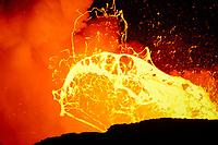4th of July, Giant bubbles of lava exploding, Waikupanaha ocean entry, East of Hawaii, USA Volcanoes National Park, Kalapana, Hawaii, USA, The Big Island of Hawaii, USA