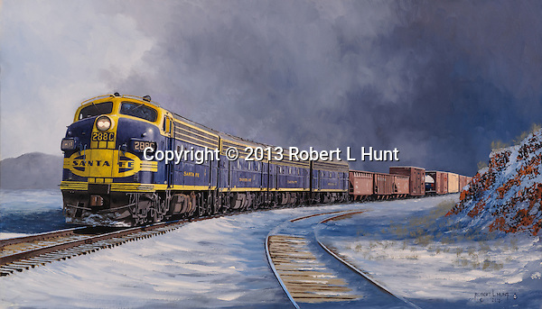 """Santa Fe F units pulling a freight train out of a winter storm squall and into the sunlight in the high desert near Flagstaff, Arizona. Oil on canvas, 16"""" x 28""""."""
