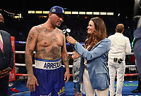 CARSON, CA - MAY 1: Fox Sports reporter Heidi Androl interviews Chris Arreola after he was defeated by Andy Ruiz Jr. on the Fox Sports PBC Pay-Per-View fight on May 1, 2021 at Dignity Health Sports Park in Carson, CA. (Photo by Frank Micelotta/Fox Sports/PictureGroup)