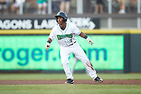 Jeter Downs (2) of the Dayton Dragons takes his lead off of second base against the Bowling Green Hot Rods at Fifth Third Field on June 9, 2018 in Dayton, Ohio. The Hot Rods defeated the Dragons 1-0.  (Brian Westerholt/Four Seam Images)