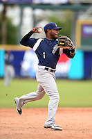 Pensacola Blue Wahoos shortstop Rey Navarro (1) throws to first during a game against the Jacksonville Suns on April 20, 2014 at Bragan Field in Jacksonville, Florida.  Jacksonville defeated Pensacola 5-4.  (Mike Janes/Four Seam Images)