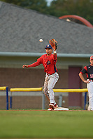 Williamsport Crosscutters first baseman Nerluis Martinez (11) waits to receive a throw during a game against the Batavia Muckdogs on August 3, 2017 at Dwyer Stadium in Batavia, New York.  Williamsport defeated Batavia 2-1.  (Mike Janes/Four Seam Images)