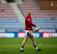 29th April 2021; DW Stadium, Wigan, Lancashire, England; BetFred Super League Rugby, Wigan Warriors versus Hull FC;  Zak Hardaker of Wigan Warriors looks skyward in the warm up