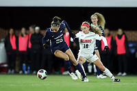 CHAPEL HILL, NC - NOVEMBER 16: Maycee Bell #25 of the University of North Carolina turns away from Niki Clements #18 of Belmont University during a game between Belmont and North Carolina at UNC Soccer and Lacrosse Stadium on November 16, 2019 in Chapel Hill, North Carolina.