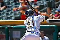 Alfredo Marte (21) of the Salt Lake Bees at bat against the El Paso Chihuahuas in Pacific Coast League action at Smith's Ballpark on July 26, 2015 in Salt Lake City, Utah. El Paso defeated Salt Lake 6-3 in 10 innings.  (Stephen Smith/Four Seam Images)