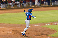AZL Rangers right fielder Beder Gutierrez (8) celebrates hitting a two-run home run in the top of the 12th inning of an Arizona League playoff game against the AZL Indians 1 at Goodyear Ballpark on August 28, 2018 in Goodyear, Arizona. The AZL Rangers defeated the AZL Indians 1 7-4. (Zachary Lucy/Four Seam Images)
