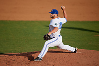 Bluefield Blue Jays relief pitcher Brad Wilson (38) delivers a pitch during the first game of a doubleheader against the Bristol Pirates on July 25, 2018 at Bowen Field in Bluefield, Virginia.  Bluefield defeated Bristol 6-3.  (Mike Janes/Four Seam Images)