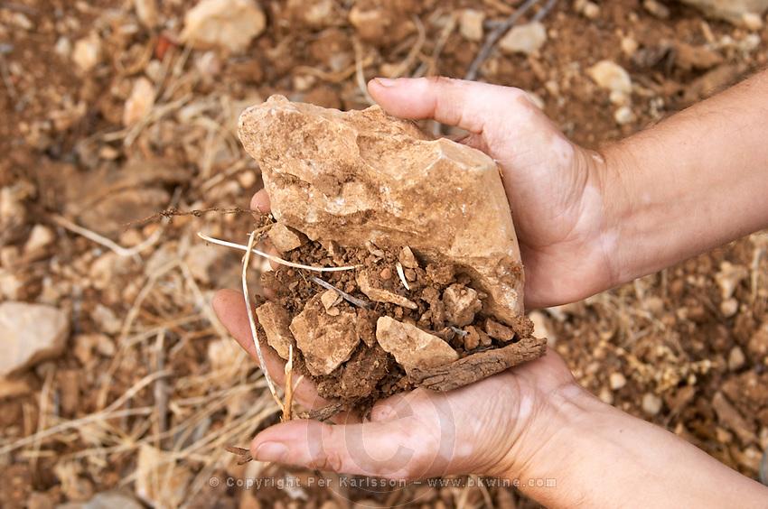 Jean-Benoit Cavalier's hands. Lascaux type of calcareous rock and sandy/clay soil. Chateau de Lascaux, Vacquieres village. Pic St Loup. Languedoc. Owner winemaker. France. Europe.