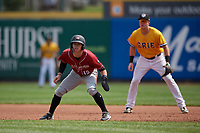 Altoona Curve Mitchell Tolman (19) leads off in front of first baseman Josh Lester during an Eastern League game against the Erie SeaWolves and on June 4, 2019 at UPMC Park in Erie, Pennsylvania.  Altoona defeated Erie 3-0.  (Mike Janes/Four Seam Images)