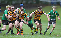 ULSTER SCHOOLS CUP QUARTER FINAL - RBAI vs SULLIVAN | Saturday 20th February 2016<br /> <br /> Mark Keane is tackled by Lewis Smyth during the quarter final clash of the Ulster Schools Cup between RBAI and Sullivan Upper School at Osborne Park, Belfast, Northern Ireland. Photo credit: John Dickson / DICKSONDIGITAL