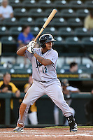 Jupiter Hammerheads outfielder Jesus Solorzano (12) at bat during a game against the Bradenton Marauders on June 25, 2014 at McKechnie Field in Bradenton, Florida.  Bradenton defeated Jupiter 11-0.  (Mike Janes/Four Seam Images)