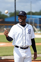 FCL Tigers West pitcher Francisco Jimenez (39) in the bullpen during a game against the FCL Yankees on July 31, 2021 at Tigertown in Lakeland, Florida.  (Mike Janes/Four Seam Images)