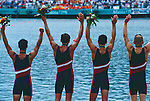 Rowing, US Rowing National Team Men's quad celebrate a silver medal at the 1996 Atlanta Olympics