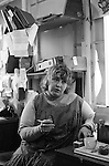 Richmond, London, 1975 <br /> Erin Pizzey in her office at the former Palm Court Hotel, Richmond. In November the former four-star hotel, derelict and unoccupied was squatted. Within 24 hours accommodation, security and food was provided to more than 40 children and their mothers.