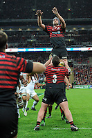 20131018 Copyright onEdition 2013©<br /> Free for editorial use image, please credit: onEdition<br /> <br /> Alistair Hargreaves of Saracens jumps in the lineout during the Heineken Cup match between Saracens and Stade Toulousain at Wembley Stadium on Friday 18th October 2013 (Photo by Rob Munro)<br /> <br /> For press contacts contact: Sam Feasey at brandRapport on M: +44 (0)7717 757114 E: SFeasey@brand-rapport.com<br /> <br /> If you require a higher resolution image or you have any other onEdition photographic enquiries, please contact onEdition on 0845 900 2 900 or email info@onEdition.com<br /> This image is copyright onEdition 2013©.<br /> This image has been supplied by onEdition and must be credited onEdition. The author is asserting his full Moral rights in relation to the publication of this image. Rights for onward transmission of any image or file is not granted or implied. Changing or deleting Copyright information is illegal as specified in the Copyright, Design and Patents Act 1988. If you are in any way unsure of your right to publish this image please contact onEdition on 0845 900 2 900 or email info@onEdition.com