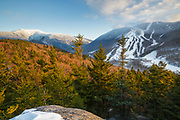 Mount Lafayette with Cannon Mountain on the right from Bald Mountain in the White Mountains, New Hampshire. Mount Lafayette is the highest summit on Franconia Ridge, and it was referred to as the Great Haystack by earlier settlers.