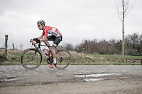 Tosh Van der Sande (BEL/Lotto-Soudal)<br /> over the Varent cobbles<br /> <br /> 69th Kuurne-Brussel-Kuurne 2017 (1.HC)