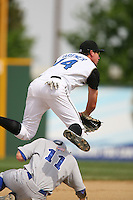 April 27 2007: Tadd Brewer of the Rancho Cucamonga Quakes attempts a double play against the Stockton Ports at The Epicenter in Rancho Cucamonga,CA.  Photo by Larry Goren/Four Seam Images