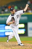 Detroit Tigers relief pitcher Phil Coke (40) delivers a pitch to the plate against the Tampa Bay Rays at Comerica Park on June 4, 2013 in Detroit, Michigan.  The Tigers defeated the Rays 10-1.  Brian Westerholt/Four Seam Images
