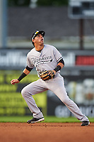 Staten Island Yankees shortstop Angel Aguilar (12) during a game against the Batavia Muckdogs on August 27, 2016 at Dwyer Stadium in Batavia, New York.  Staten Island defeated Batavia 13-10 in eleven innings.  (Mike Janes/Four Seam Images)