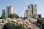 Demolition of Grange House, a 12 storey tower block on the Gascoigne Estate in the London Borough of Barking and Dagenham, part of a regeneration plan involving the demolition of all 16 of the estate's high rise blocks and the decanting of 1301 households by 2017.