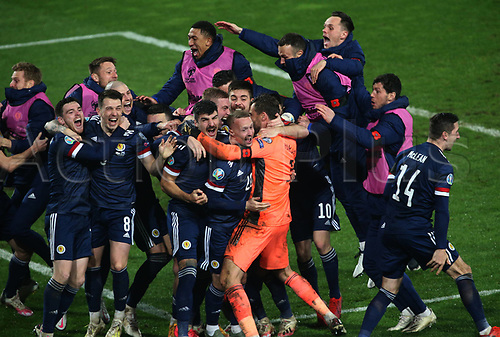 12th November 2020; Belgrade, Serbia; European International Football Playfoff Final, Serbia versus Scotland;  Scotland players celebrate victory after the penalty shootout Andrew Robertson, Ryan Jack, Lyndon Dykes, Callum Peterson, Leigh Griffiths, David Marshall
