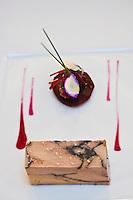 Europe/France/Bretagne/56/Morbihan/Vannes:  Foie gras de canard aux sucs de vin rouge avec son chutney  de figues recette d'Olivier Samson restaurant La Gourmandière  au lieu dit Poignant -
