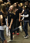 Members of the Roy Gomm Elementary School Choir wait in the wings before singing the national anthem before Friday night's Reno Bighorns minor league basketball game, Feb. 11, 2011, against the Fort Wayne Mad Ants at the Reno Events Center in Reno, Nev. .Photo by Cathleen Allison
