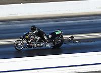 Feb 12, 2017; Pomona, CA, USA; NHRA top fuel nitro Harley rider Tracy Kile during the Winternationals at Auto Club Raceway at Pomona. Mandatory Credit: Mark J. Rebilas-USA TODAY Sports