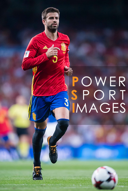 Gerard Pique of Spain in action during their 2018 FIFA World Cup Russia Final Qualification Round 1 Group G match between Spain and Italy on 02 September 2017, at Santiago Bernabeu Stadium, in Madrid, Spain. Photo by Diego Gonzalez / Power Sport Images