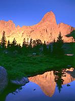 Sunset on Pingora Peak in the Circ of the Towers, Wind River Range, Wyoming.