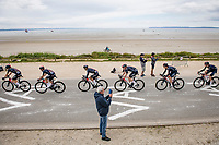 Team Ineos Grenadiers riding in formation along the Breton sea front<br /> <br /> Stage 1 from Brest to Landerneau (198km)<br /> 108th Tour de France 2021 (2.UWT)<br /> <br /> ©kramon