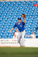 South Bend Cubs first baseman Jared Young (16) receives a throw during the first game of a doubleheader against the Lake County Captains on May 16, 2018 at Classic Park in Eastlake, Ohio.  South Bend defeated Lake County 6-4 in twelve innings.  (Mike Janes/Four Seam Images)