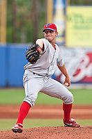 Korey Noles (28) of the Clearwater Threshers during a game vs. the St. Lucie Mets May 30 2010 at Digital Domain Park, Port St. Lucie Florida. St. Lucie won the game against Clearwater by the score of 3-2. Photo By Scott Jontes/Four Seam Images