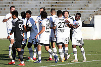 RICHMOND, VA - SEPTEMBER 30: Ben Speas #17 of North Carolina FC celebrates his goal with teammates Akeem Ward #30, DJ Taylor #27, Manny Perez #2, Graham Smith #16, and Dre Fortune #8 during a game between North Carolina FC and New York Red Bulls II at City Stadium on September 30, 2020 in Richmond, Virginia.