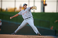 Wisconsin Timber Rattlers pitcher Cody Ponce (36) delivers a pitch during a game against the Peoria Chiefs on August 21, 2015 at Dozer Park in Peoria, Illinois.  Wisconsin defeated Peoria 2-1.  (Mike Janes/Four Seam Images)