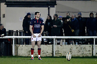 Will Magie of London Scottish sizes up a conversion kick during the Greene King IPA Championship match between London Scottish Football Club and Nottingham Rugby at Richmond Athletic Ground, Richmond, United Kingdom on 7 February 2020. Photo by Carlton Myrie.