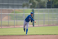Kansas City Royals shortstop Jeison Guzman (1) makes a throw to first base during an Instructional League game against the San Francisco Giants at the Giants Training Complex on October 17, 2017 in Scottsdale, Arizona. (Zachary Lucy/Four Seam Images)